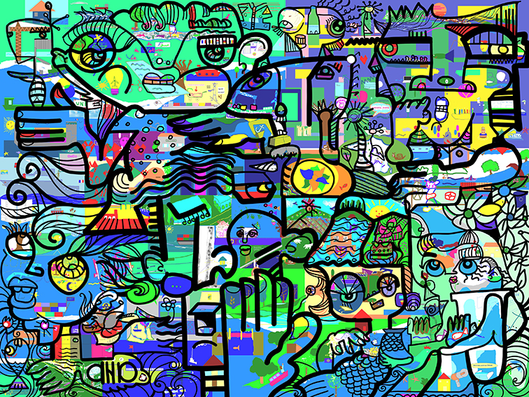 Œuvre Collective à Distance Fresque Télétravail Anniversaire d'entreprise 30 ans VNF en libre service animation en ligne