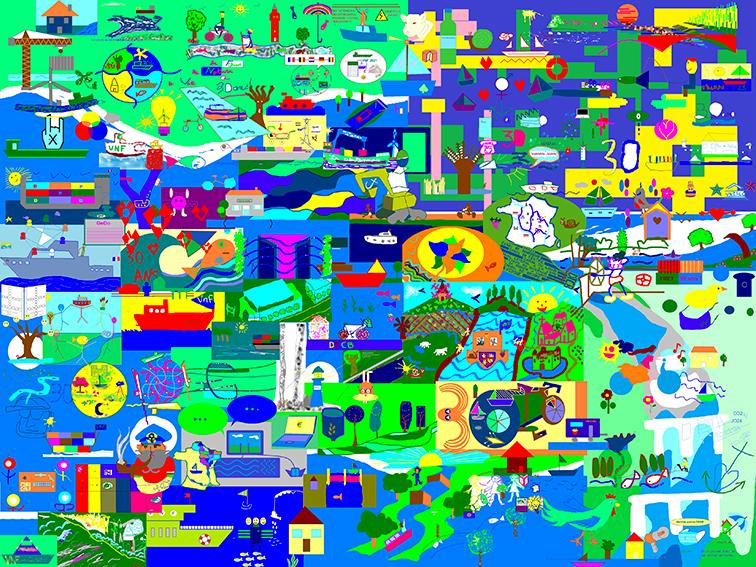 Œuvre Digitale en Télétravail Mur d'idées numériques des participants à la Fresque Télétravail aNa artiste