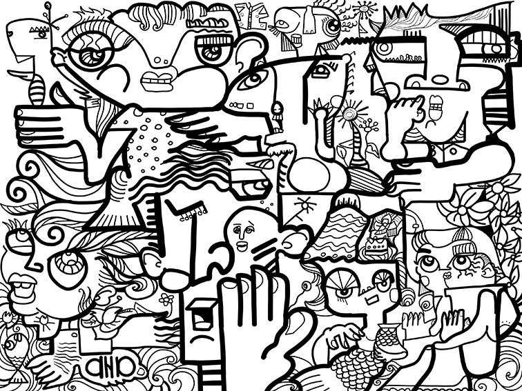 Peinture Digitale en Télétravail œuvre d'art numérique par aNa artiste réalisée sous protocole Fresque Télétravail